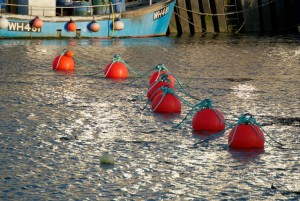 Red buoys in West Bay harbour