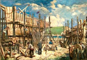 Newbery's Ship Building Painting in Bridport Town Hall
