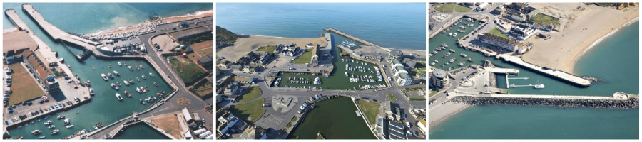 Aerial shot of the old harbour and two of the new one
