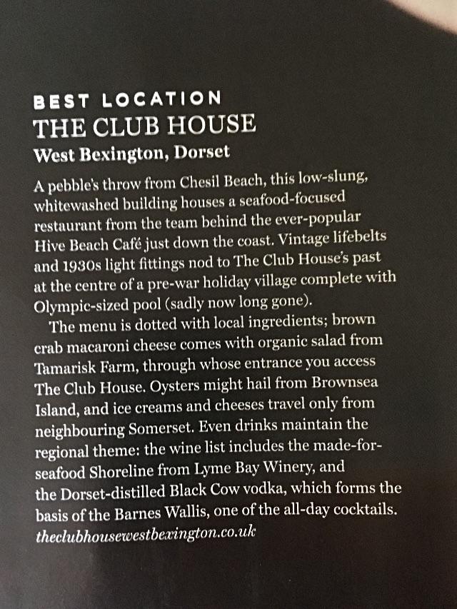 Waitrose Food Magazine - Club House Write Up